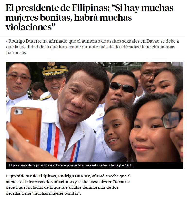 Presidente de Filipinas, machismo, agresiones, violación