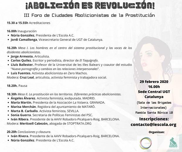 feminismo, mujeres en lucha, abolicion, abolicionismo, barcelona, foro